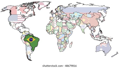 old political map of world with flag of brazil