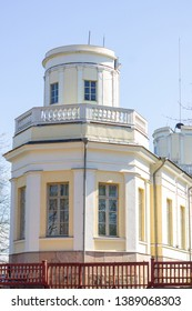Old polygonal observatory building from the 1800s in the Tähtitorninmäki public park of Helsinki