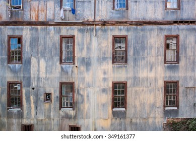 Old and poor building facade at Valparaiso.