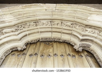 Old porch of a church, detail of a gothic church decoration in ne Spain, ancient art