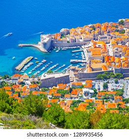 Old port of Dubrovnik on sunny summer day from above, Croatia