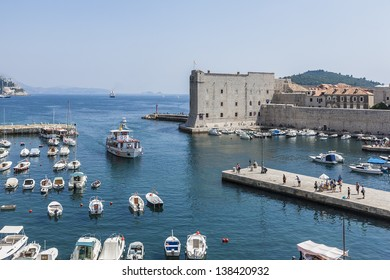 Old Port in eastern part of the Old Town of Dubrovnik. Dubrovnik - UNESCO World Heritage Site. Croatia, Europe.