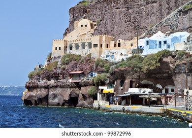 Old port of Fira city at Santorini island in aegean sea, Greece