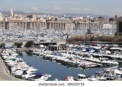 Old port from Marseille old quarter on September 23, 2016 in France