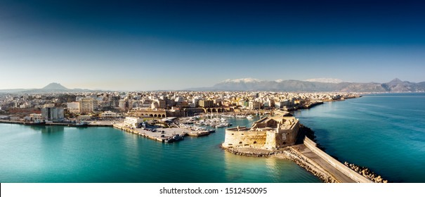 Old port and residential district with Koules fortress, Heraklion, Greece