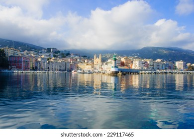 The old port (the Vieux Port), in Bastia, Corsica, France.