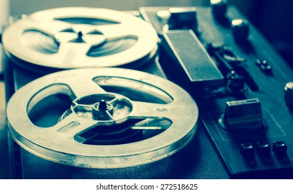 Old portable reel to reel tube tape-recorder