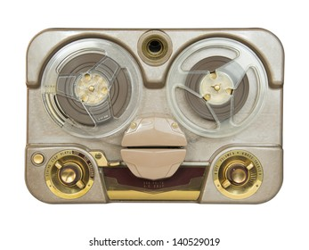 An old portable reel-to-reel tube tape-recorder, isolated over white background with clipping path.