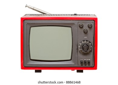 Old portable TV isolated on a white background