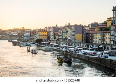 Old Porto cityscape skyline and Douro River in the sunset time in Porto, Portugal