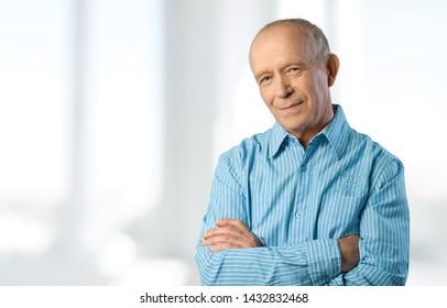 Old portrait man on window background