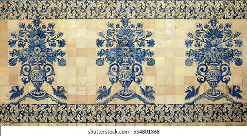 old portugal blue tile with ornate floral pattern