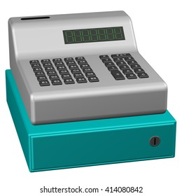 Old POS system, isolated on white background. 3D rendering.