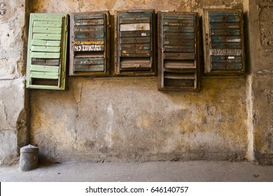 Old post boxes in the gateway in Odessa