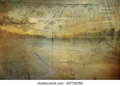 Old post card, palm tree Samana beach, vintage, grunge