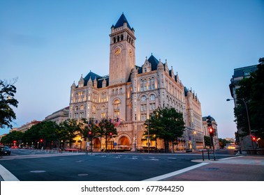 Old post office building in Washington, DC at sunset