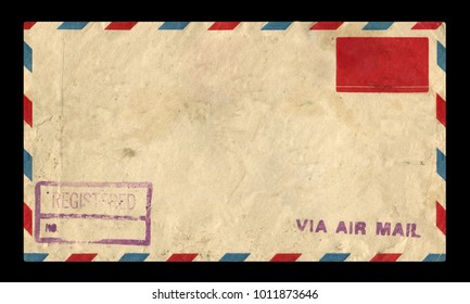 old postage envelope on a black background, message, air mail