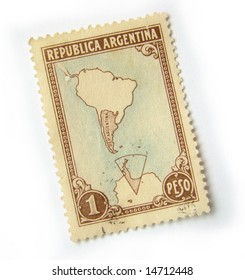 Old postage stamp from Argentina on white background.