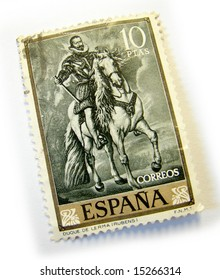 Old postage stamp from Spain on white background.
