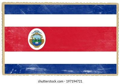 Old postcard with flag of Costa Rica