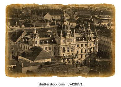 Old postcard with  Graz, old city