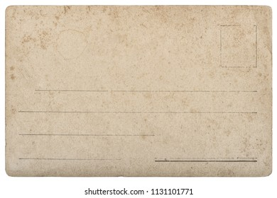 Old postcard mail. Used paper texture with edges isolated on white background