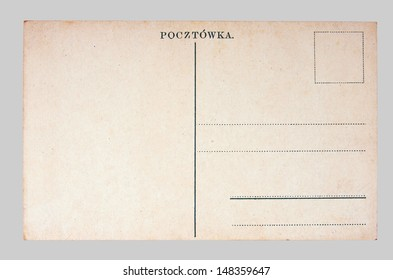Old Postcard (Pocztowka), on a gray background
