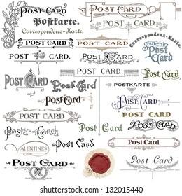 Old postcards set illustration
