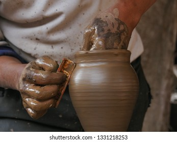 Old potter man working in his pottery,Bhaktapur, Nepal