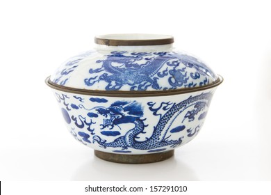 Old pottery porcelain on white background