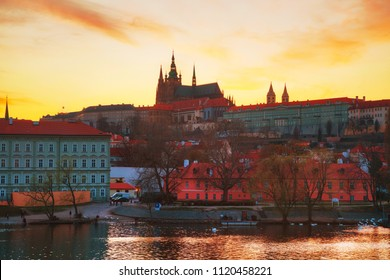 Old Prague in the evening at sunset