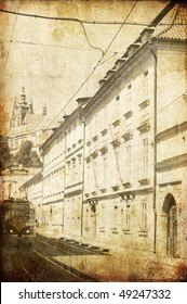 Old Prague streets. Photo in old image style.