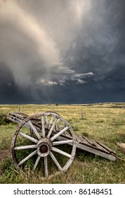 Old Prairie Wheel Cart Saskatchewan Canada field