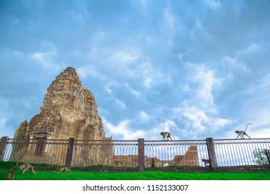 The old Prasat and Monkey at Phra Prang Sam Yod, Lopburi Province, Thailand.