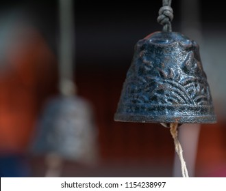 Old praying bell in a shinto shrine, Japan