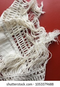Old and precious white canvas with fringe