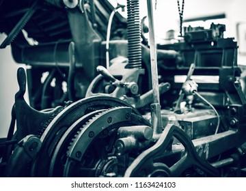 Old press printing machine close up