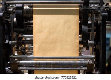 Old Press printing machine closeup