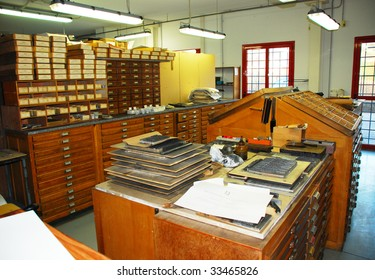 Old print shop with trays of lead fonts