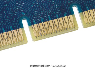 Old printed circuit board from graphic card clipping path isolated white background