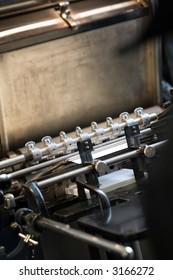 old printing machine close up