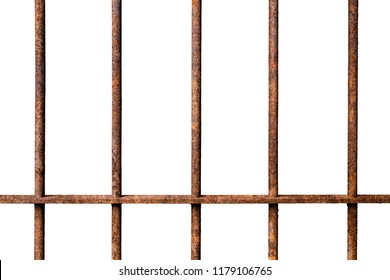 Old prison rusted metal bars cell lock isolated on white background, concept of strengthen and protect