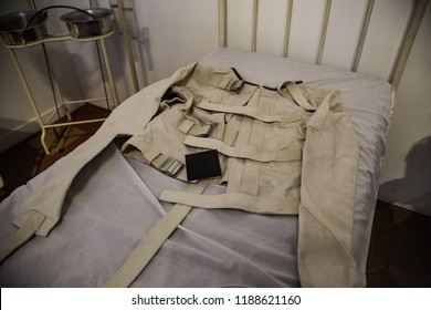 Old psychiatric straitjacket, mental hospital detail, psychosis