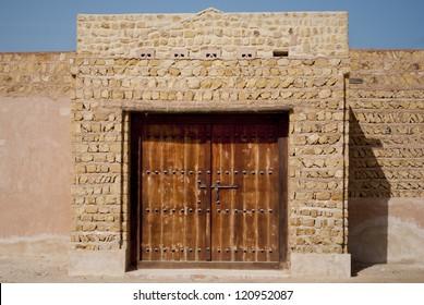 Old Public building - traditional mud building  near Dubai, Sharjah, Abu Dhabi in United Arab Emirates.beautiful arhitecture of arabic culture