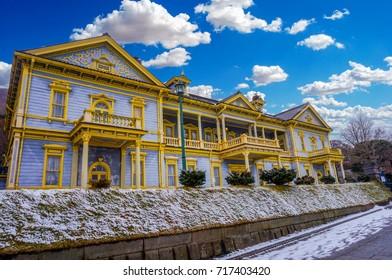 Old Public Hall of Hakodate Ward at the Motomachi area of Hakodate, Hokkaido, Japan in snow season winter