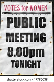 old public meeting poster for votes for women
