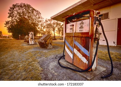Old pump in fuel station