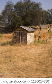 An old pump house is still standing on a California mountain ranch.