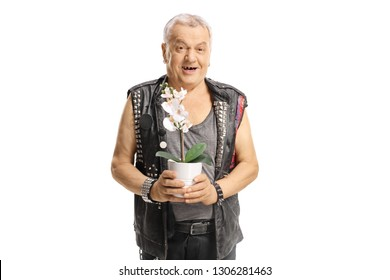 Old punker in leather vest holding a white orchid isolated on white background