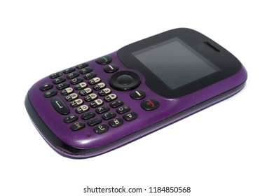 old purple cell phone with qwerty keyboard, isolated on white background